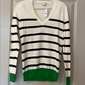 Lightweight V Neck Striped Sweater with green trim